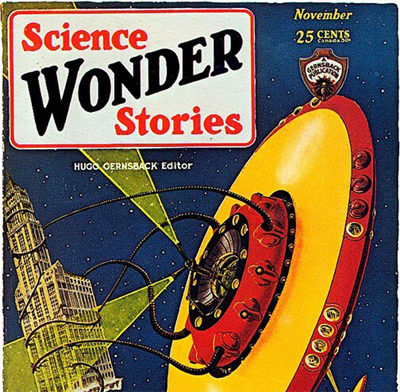 cover of science wonder stories with a UFO on its side